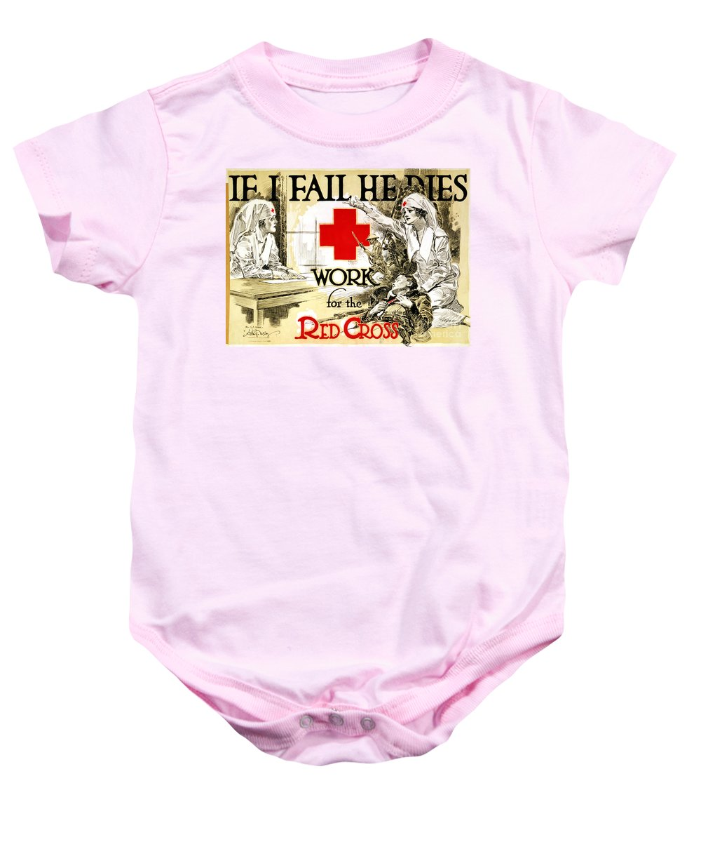 1918 Baby Onesie featuring the photograph Red Cross Poster, C1918 by Granger
