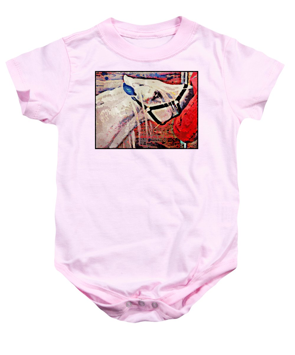 Horse Baby Onesie featuring the photograph Red Hay Bag by Alice Gipson