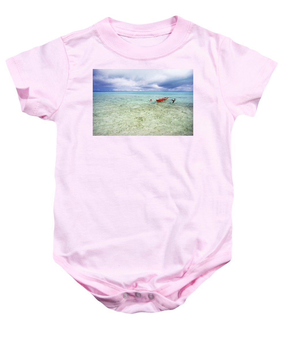 Afternoon Baby Onesie featuring the photograph Red Outrigger Canoe by M Swiet Productions