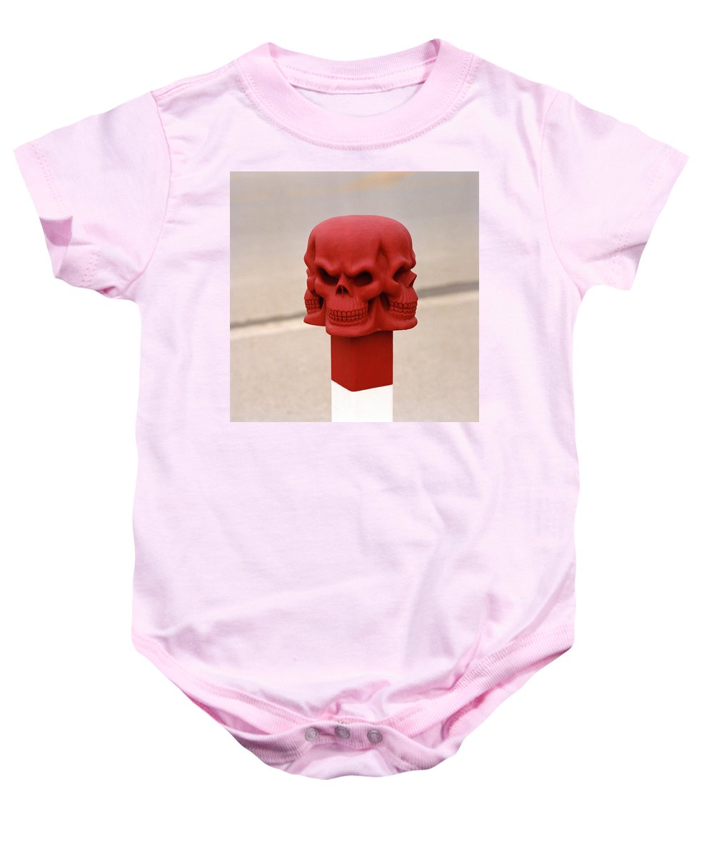 Wat Baby Onesie featuring the photograph Red Skull by Shaun Higson