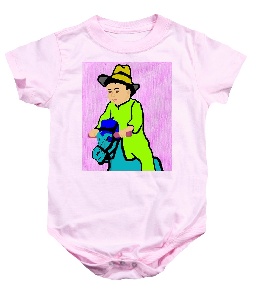 Toddler Baby Onesie featuring the drawing Ride The Horsey by Pharris Art