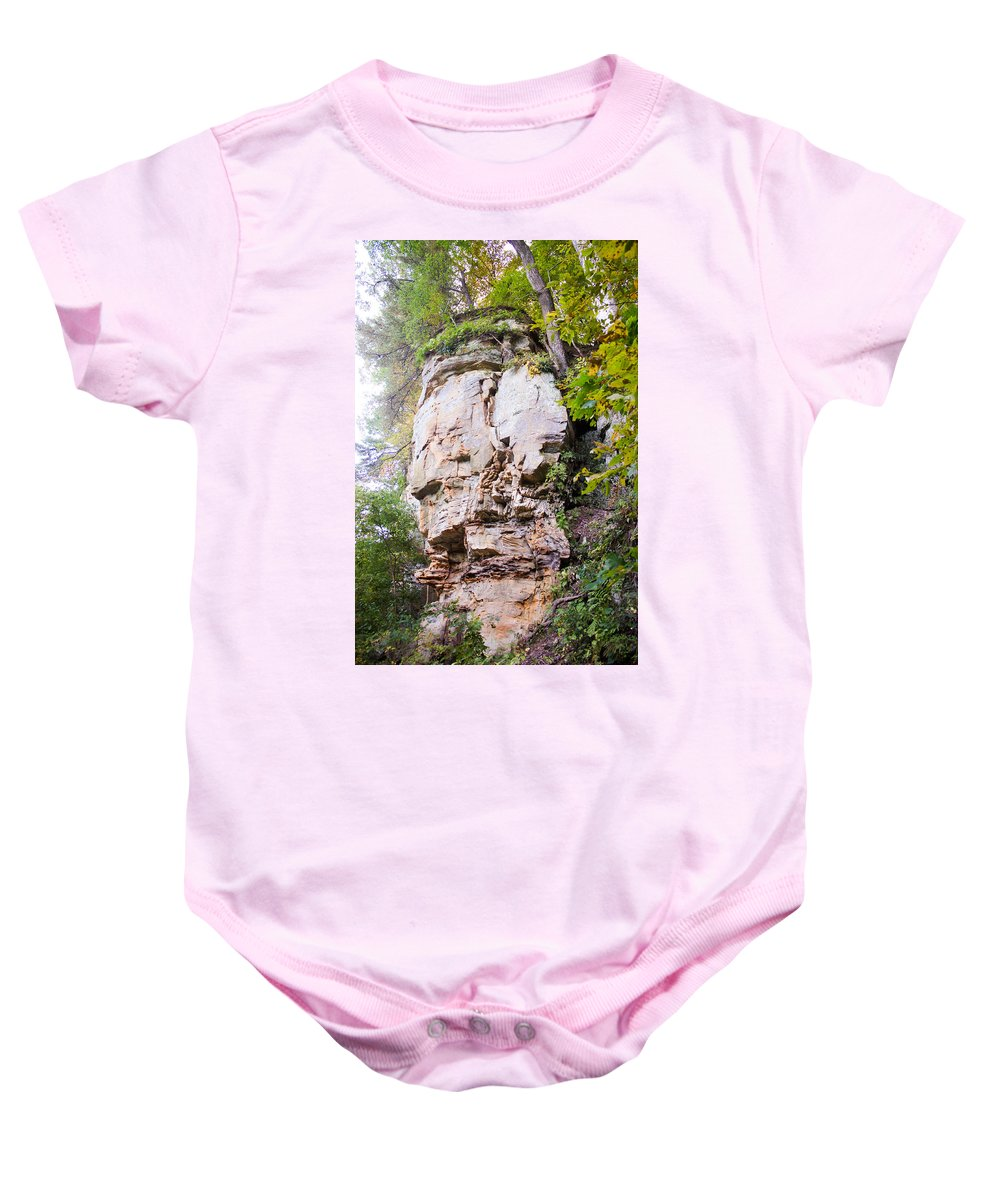 Rocky Cliff Wildcat Den Muscatine Ia Baby Onesie featuring the photograph Rocky Cliff Wildcat Den Muscatine Ia 1 by Cynthia Woods