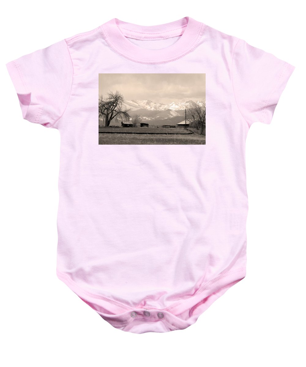 Boulder Baby Onesie featuring the photograph Rocky Mountain Lafayette Sepia Views by James BO Insogna