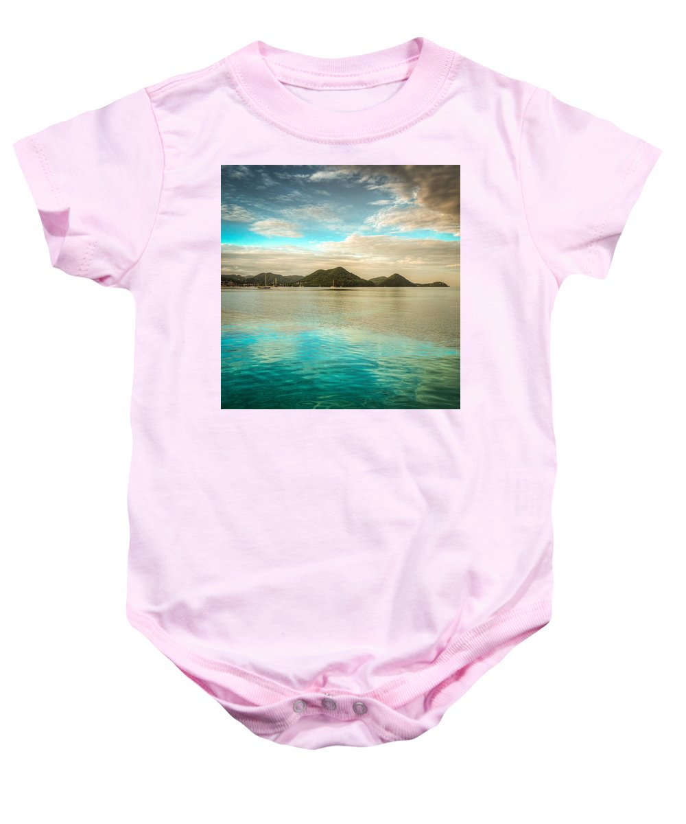 Saint Lucia Baby Onesie featuring the photograph Rodney Bay Glow by Ferry Zievinger