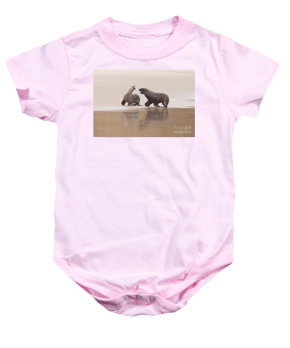 South Island Baby Onesie featuring the photograph Rough Courtship Of Male And Female Hookers Sealions by Stephan Pietzko