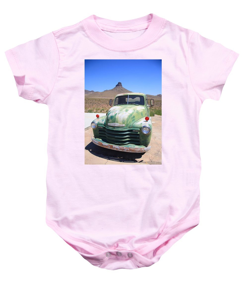 66 Baby Onesie featuring the photograph Route 66 - Old Green Chevy by Frank Romeo