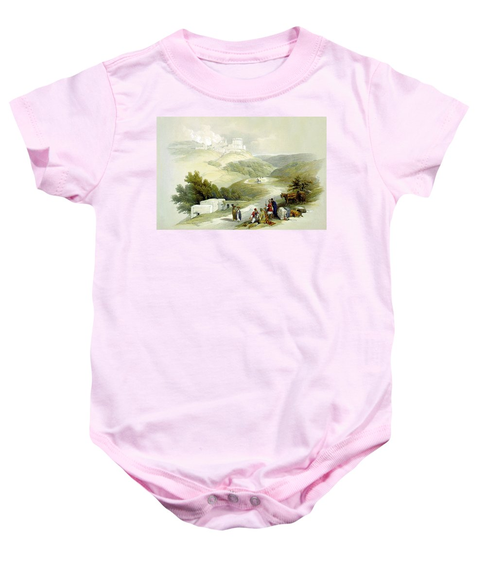Sabaste Baby Onesie featuring the photograph Ruins Of The Church Of St. John Sabaste 1839 by Munir Alawi
