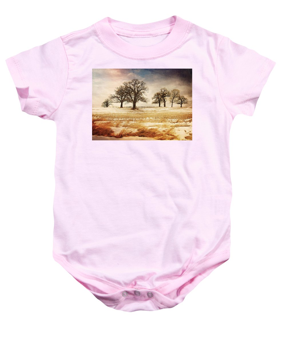 Trees Baby Onesie featuring the photograph Rural Oaks by Jayne Gulbrand