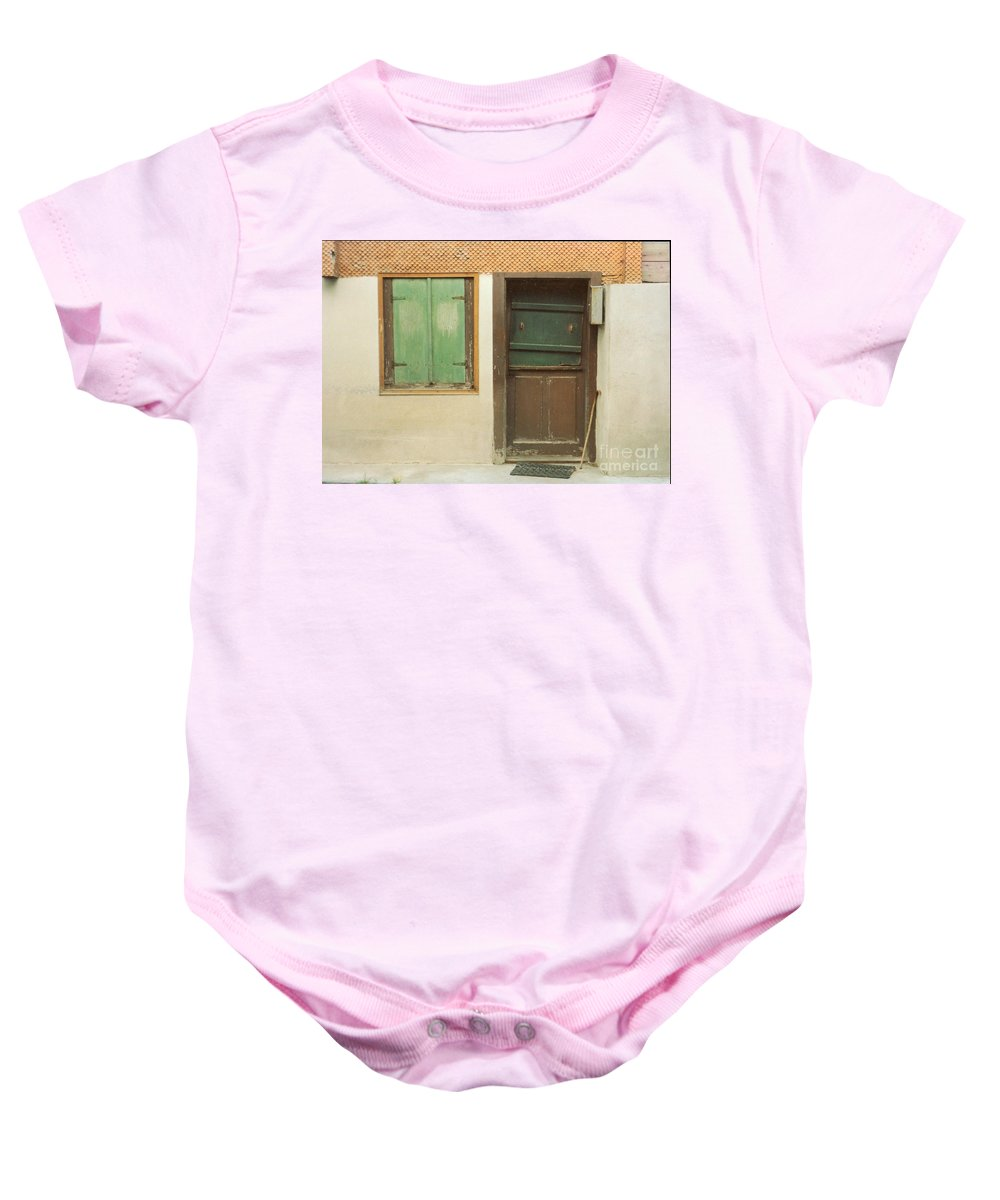 Wooden Door Baby Onesie featuring the photograph Rustic Door by Christine Jepsen