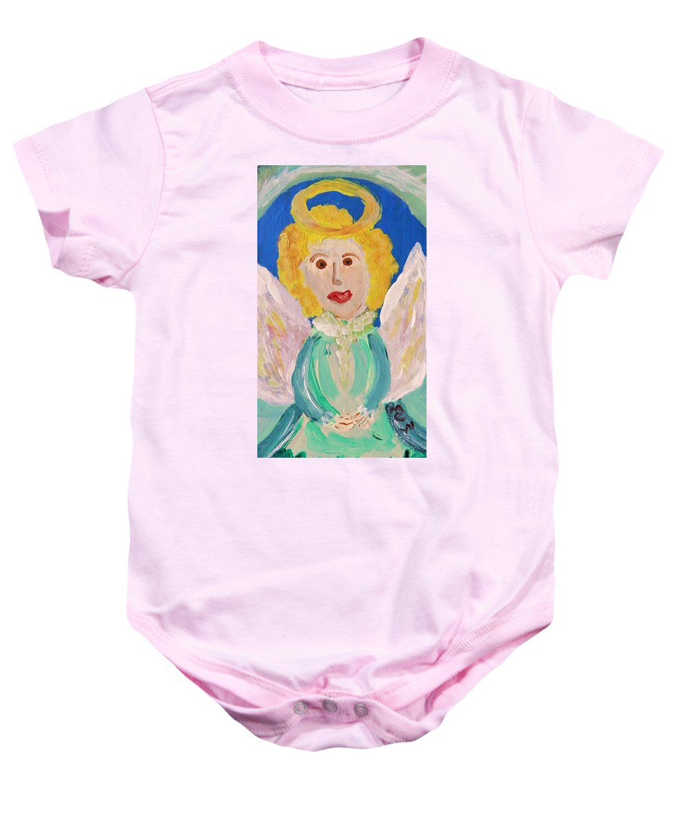 Acrylic Baby Onesie featuring the painting Ruth E. Angel by Mary Carol Williams