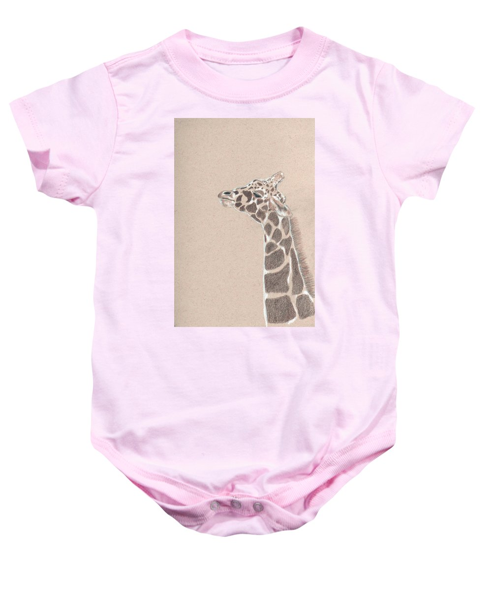 Giraffe Baby Onesie featuring the drawing Savannah by Crystal Hubbard
