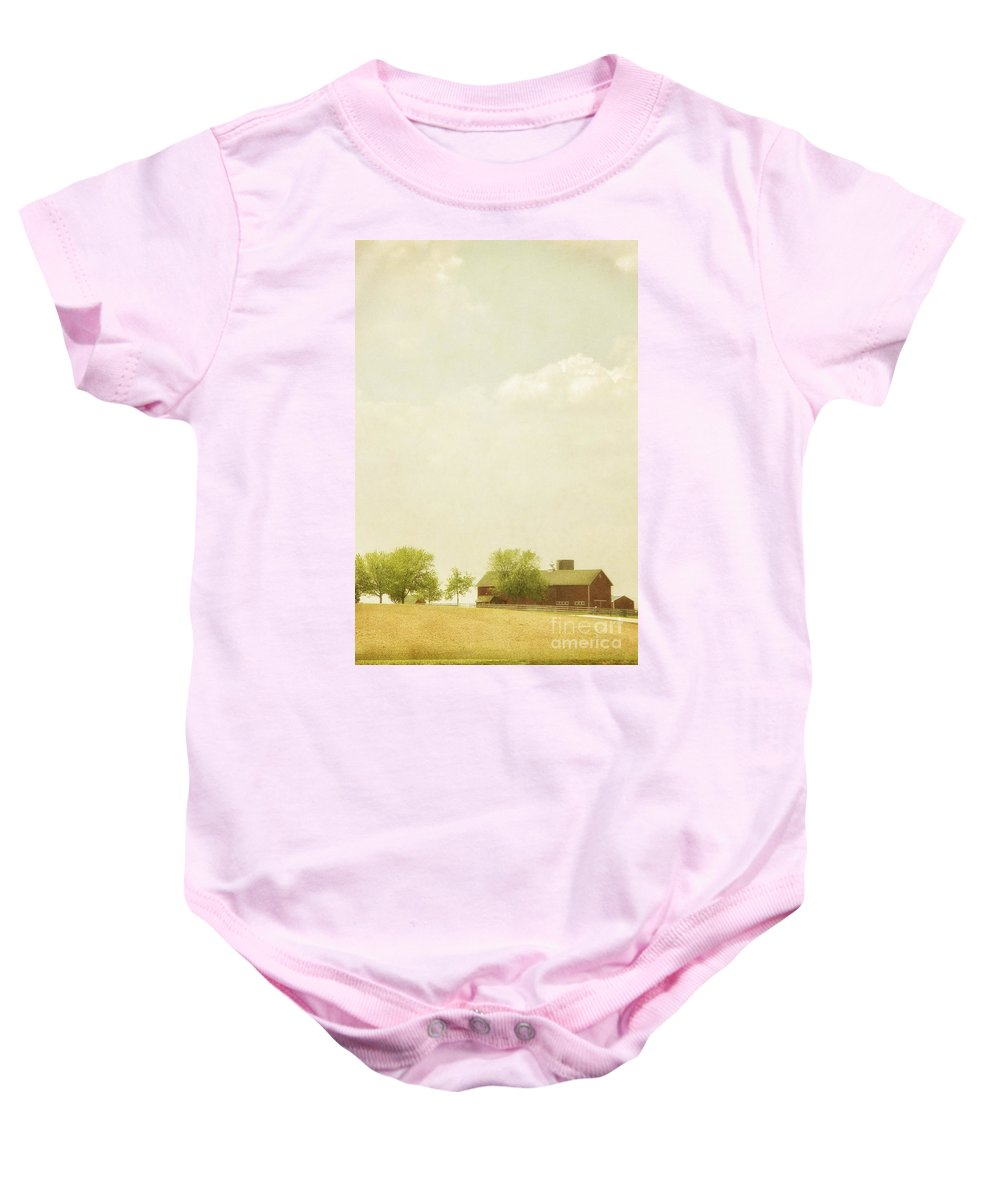 Trees; Summer; Field; Open; Lush; Full; Leaves; Sky; Clouds; Place; Outside; Outdoors; Nature; Landscape; Land; Beautiful; Farm; Barn; Buildings; Structure; Red; Country; Countryside; Rural; Painterly Baby Onesie featuring the photograph Scenic Farm by Margie Hurwich