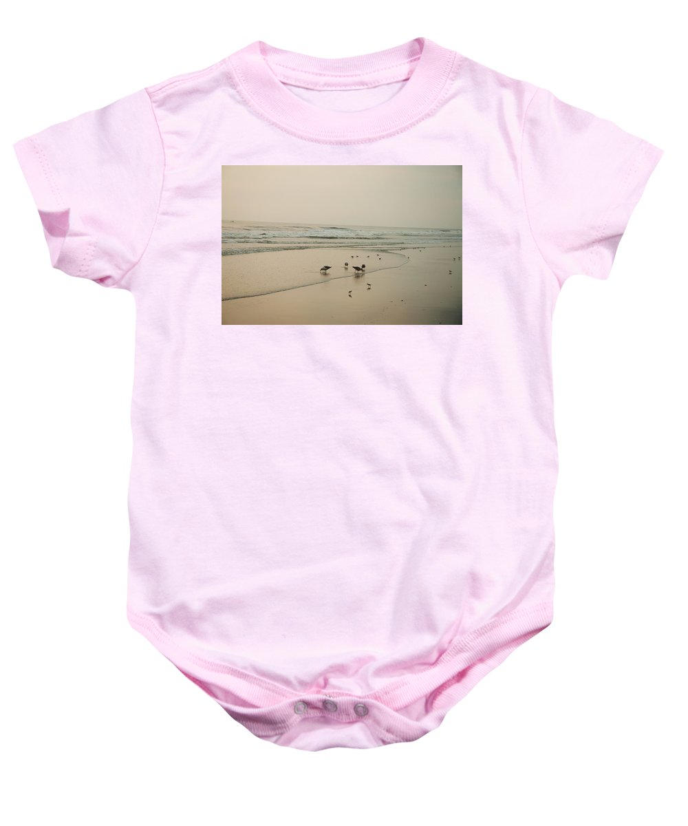 Seagulls Baby Onesie featuring the photograph Seagulls And Sandpipers by Bill Cannon