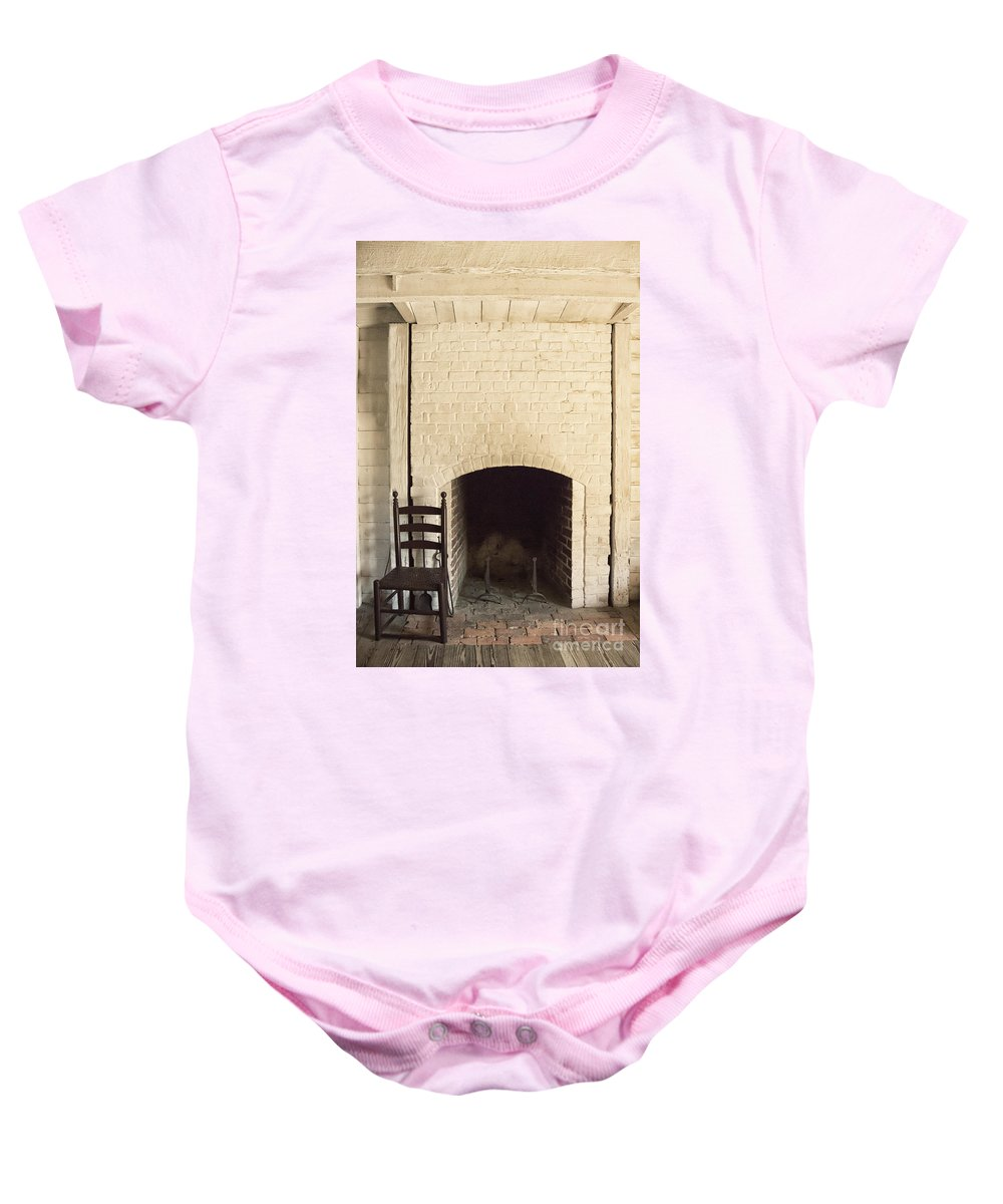 Chair Baby Onesie featuring the photograph Seat By The Hearth by Margie Hurwich