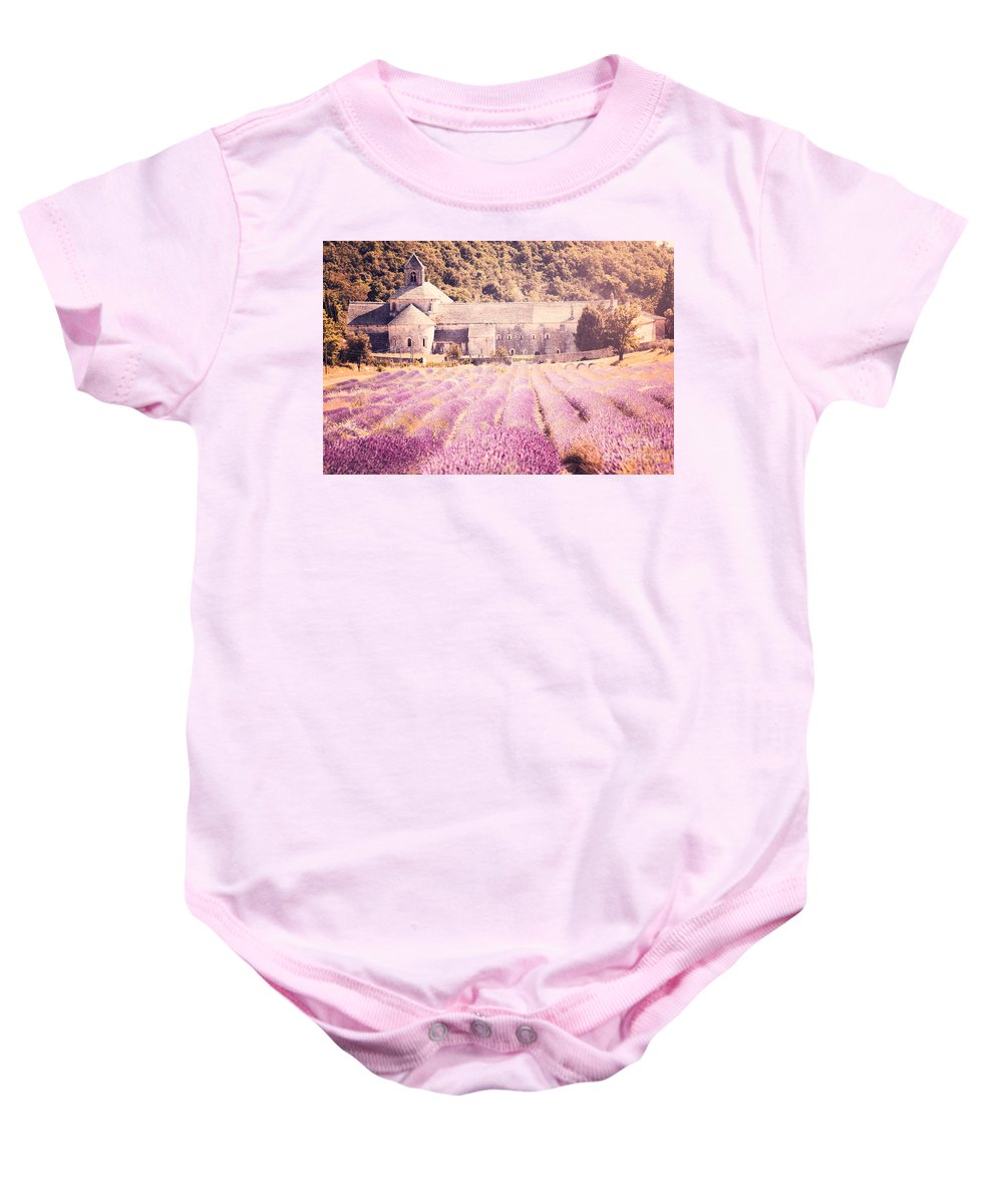 Senanque Baby Onesie featuring the photograph Senanque Abbey II by Matteo Colombo