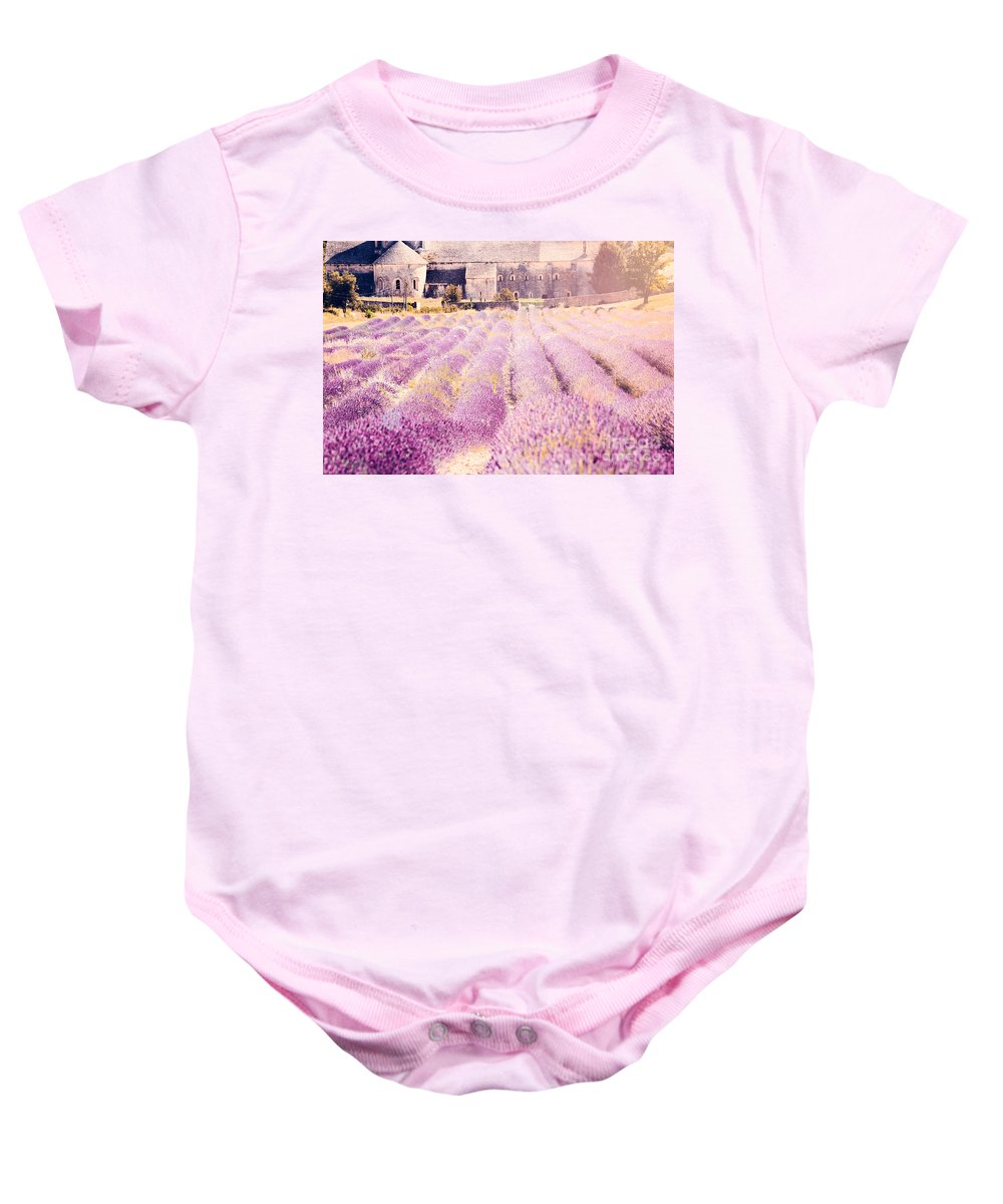 Senanque Baby Onesie featuring the photograph Senanque Abbey by Matteo Colombo