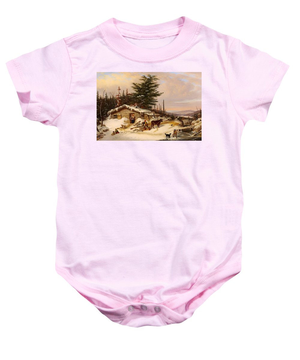 Painting Baby Onesie featuring the painting Settler's Log House by Mountain Dreams