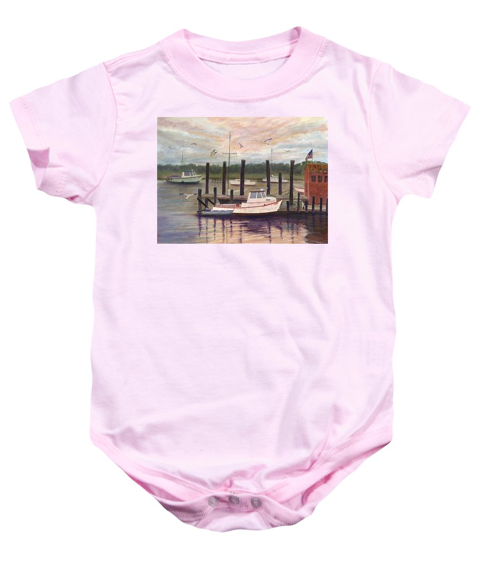 Charleston; Boats; Fishing Dock; Water Baby Onesie featuring the painting Shem Creek by Ben Kiger