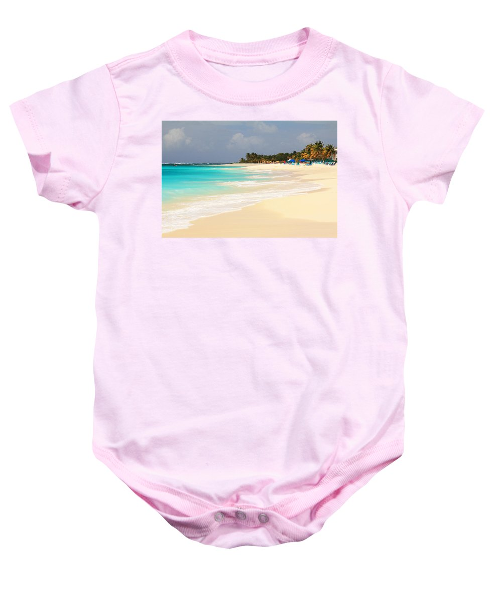 Shoal Bay Baby Onesie featuring the photograph Shoal Bay Beach by Roupen Baker