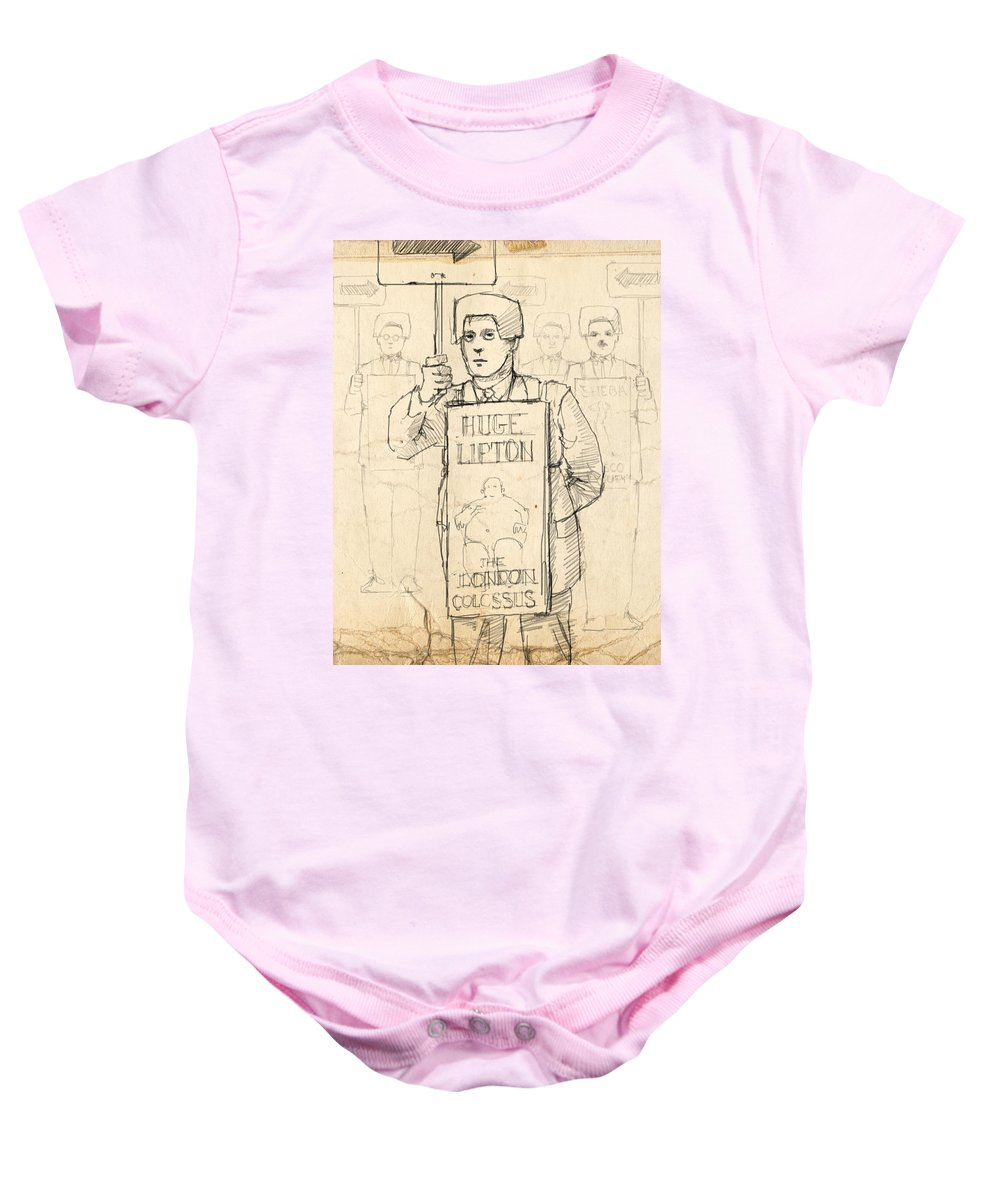 Sideshow Baby Onesie featuring the drawing Sign Men by H James Hoff