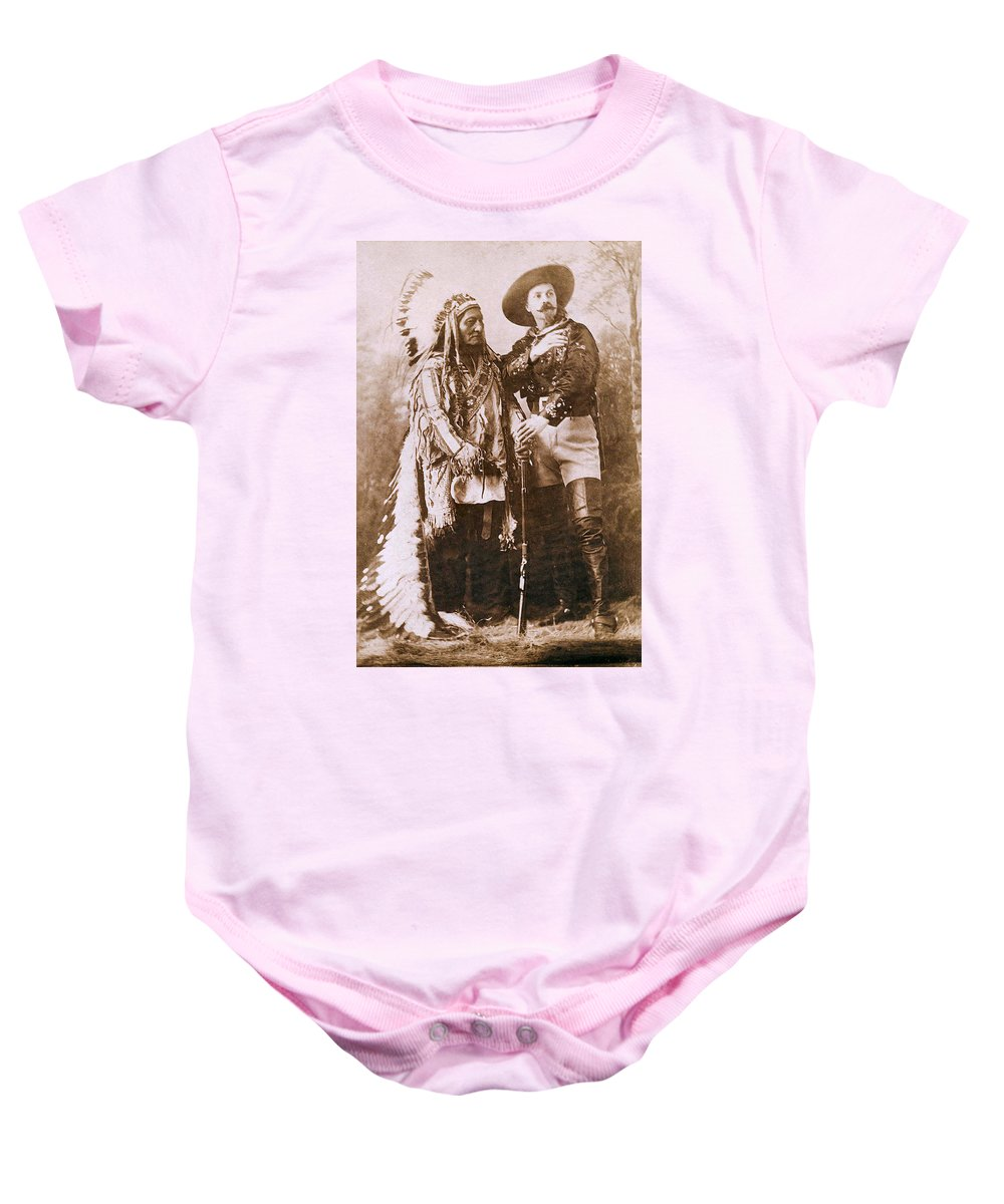 Sitting Bull And Buffalo Bill Baby Onesie featuring the photograph Sitting Bull And Buffalo Bill by Unknown