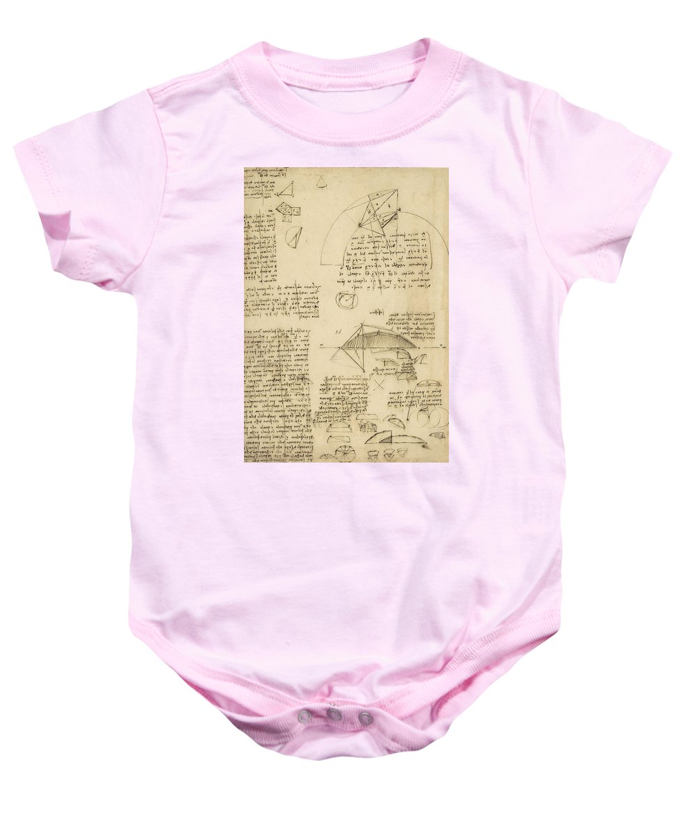 Leonardo Baby Onesie featuring the drawing Small Front View Of Church Squaring Of Curved Surfaces Triangle Elmain Or Falcata by Leonardo Da Vinci