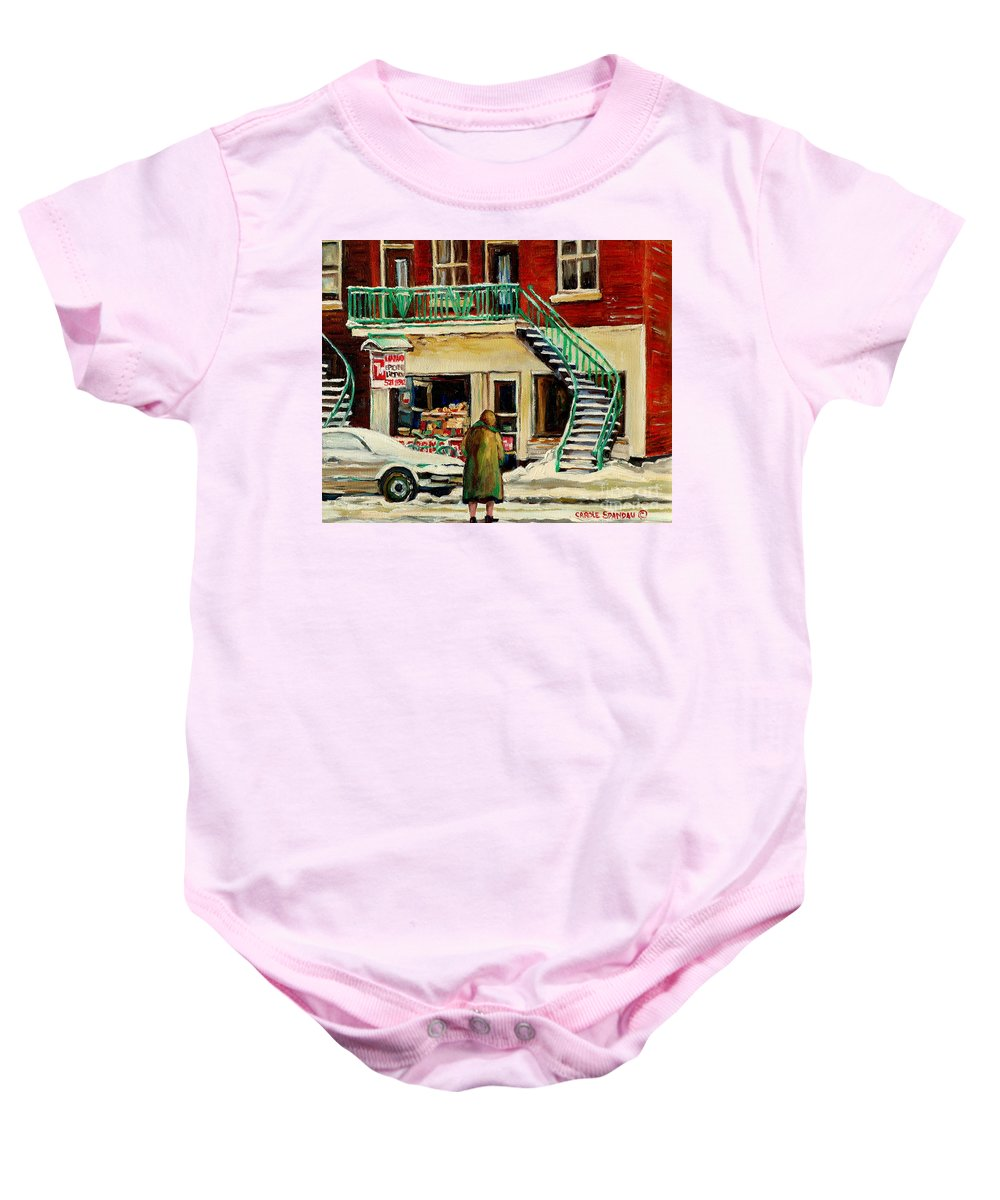 Montreal Baby Onesie featuring the painting Snowing At The Five And Dime by Carole Spandau