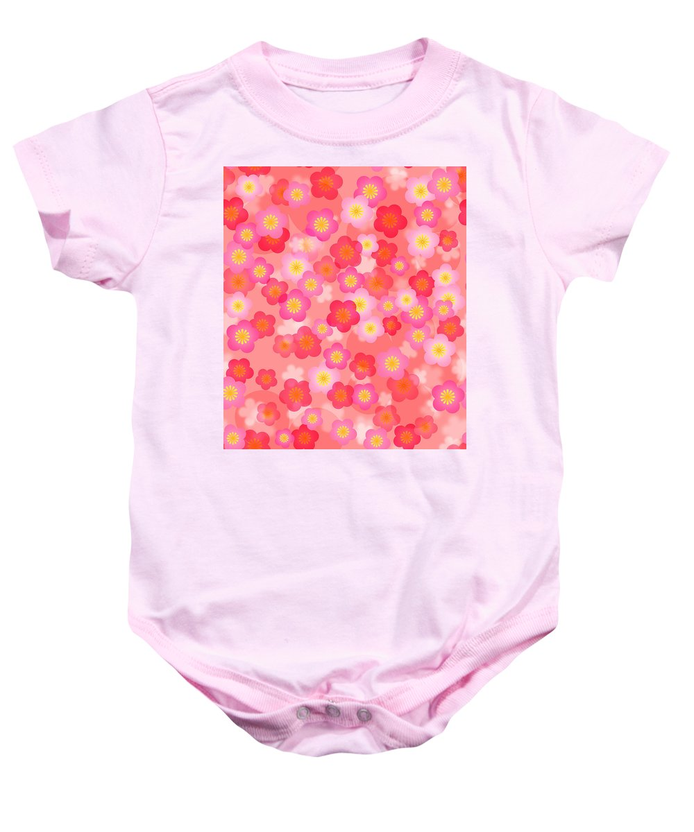 Chinese Baby Onesie featuring the digital art Spring Time Cherry Blossom Seamless Tile Background by Jit Lim