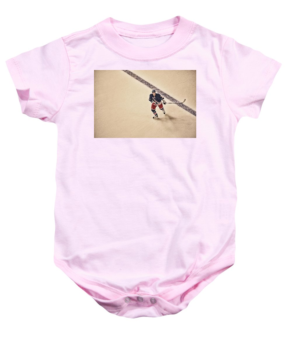 Hockey Baby Onesie featuring the photograph Stallzy by Karol Livote