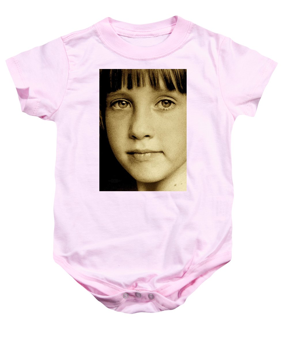 Sepia Baby Onesie featuring the photograph Stay Strong by Jane Alexander