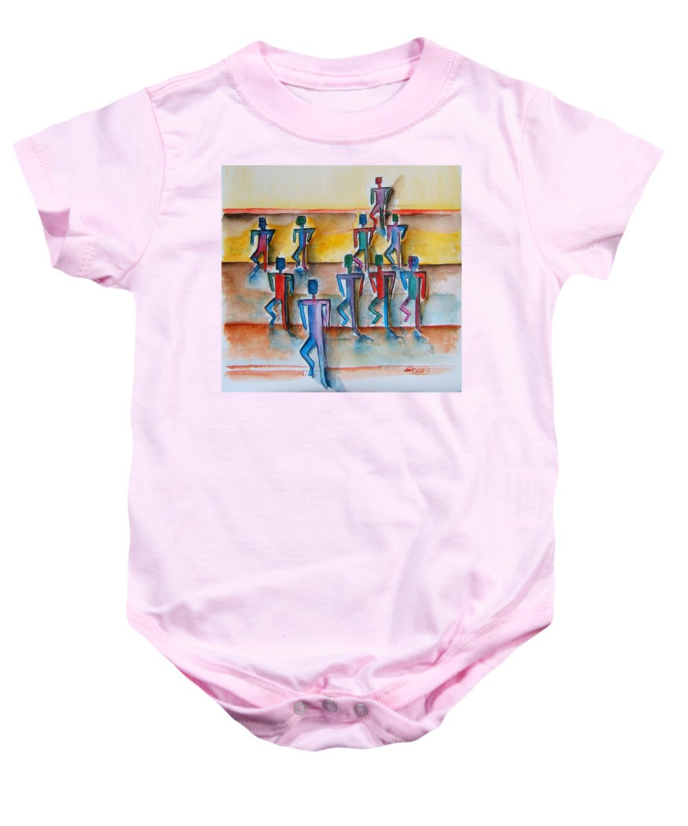 Stickman Baby Onesie featuring the painting Stickman Performers by Elaine Duras
