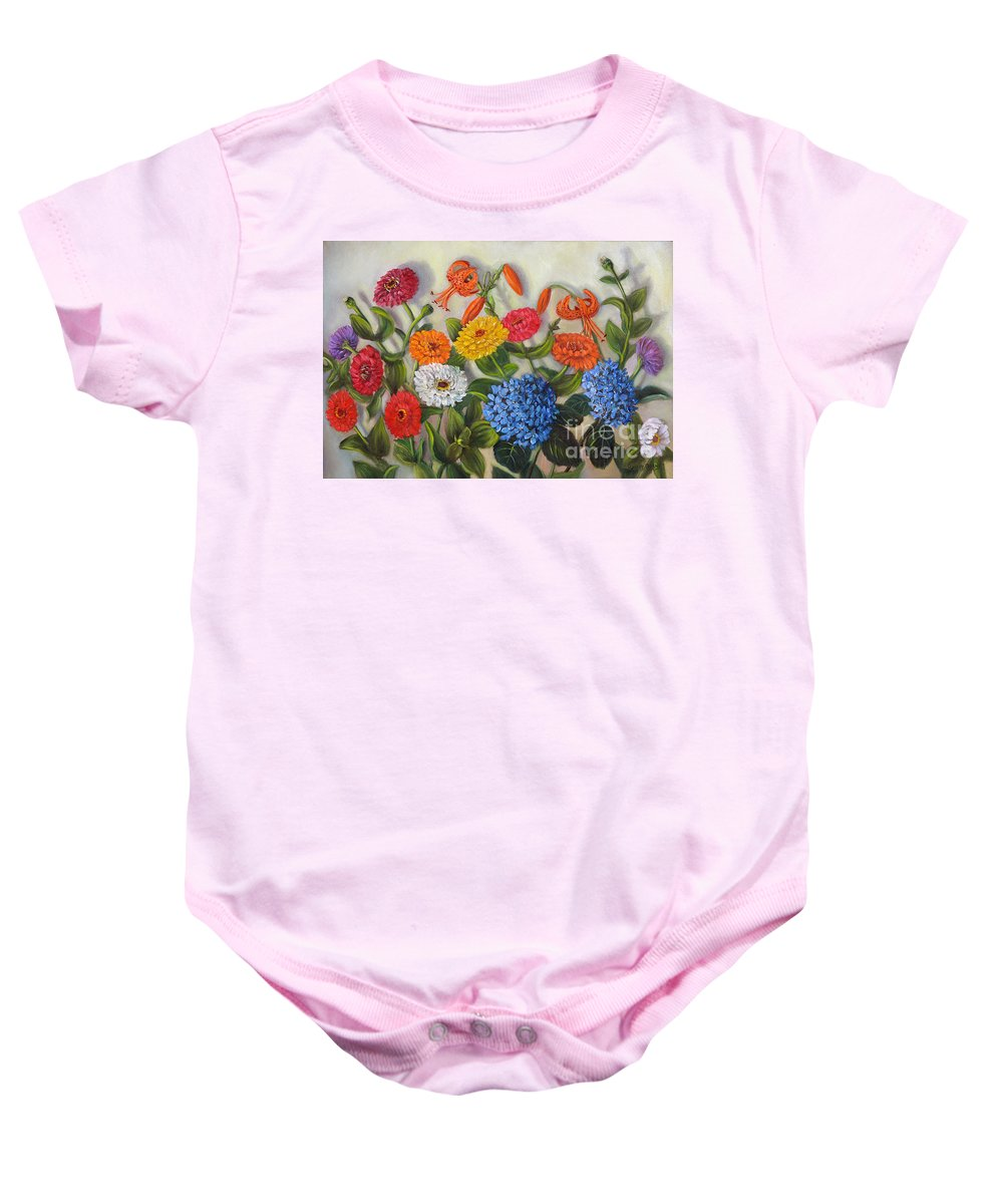 Summer Baby Onesie featuring the painting Summer Flowers by Randy Burns