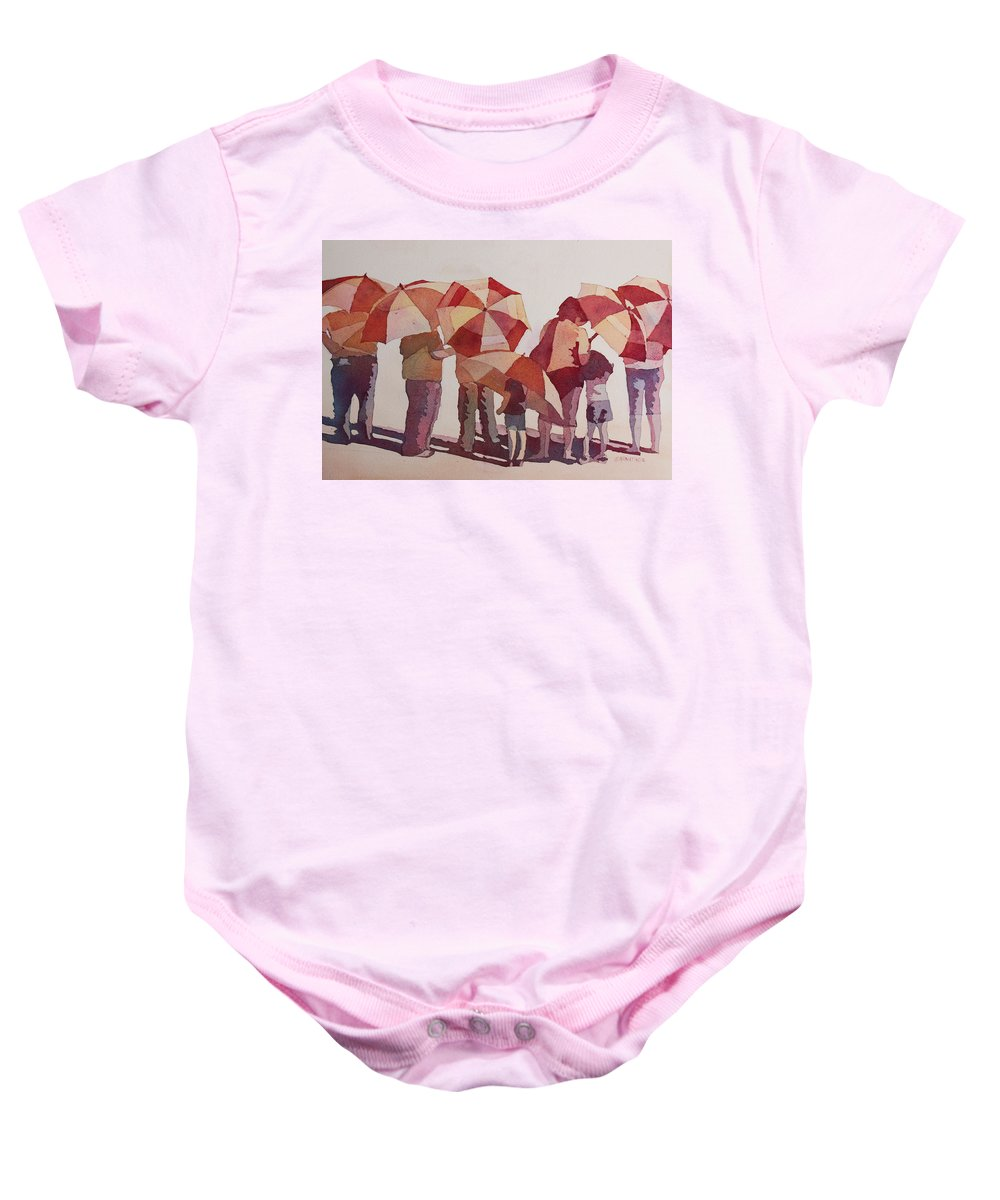 Parasol Baby Onesie featuring the painting Sun Drenched Parasols by Jenny Armitage