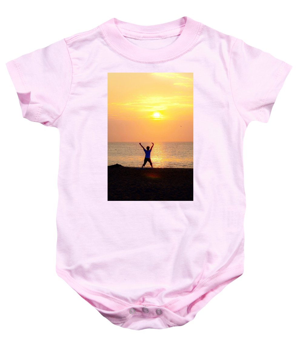 Yoga Baby Onesie featuring the photograph Sun Salutations by Kim Bemis