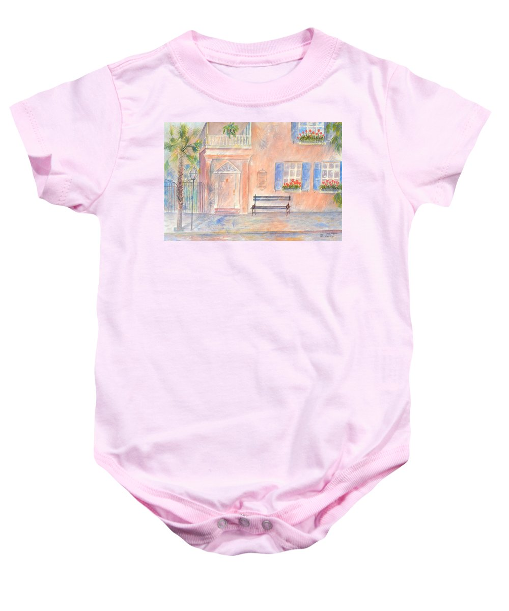 Charleston; Low Country; Palmetto Tree Baby Onesie featuring the painting Sunday Morning In Charleston by Ben Kiger