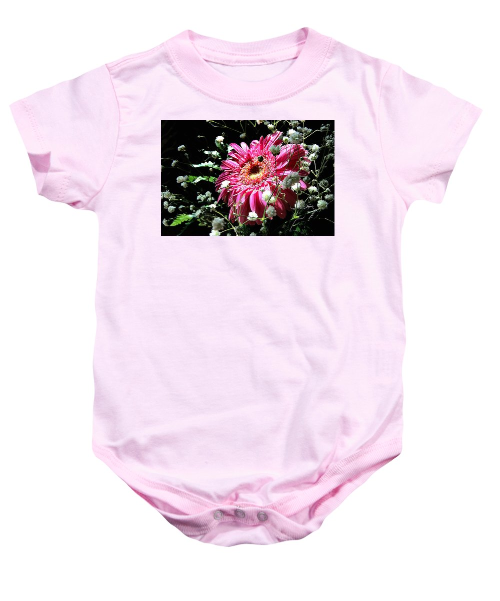 Daisy Baby Onesie featuring the photograph Sunlit by Nadine Lewis
