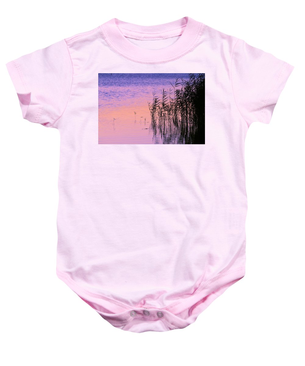 Back Baby Onesie featuring the photograph Sunrise Reeds by Pete Federico