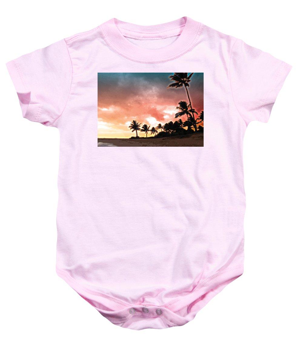 Abstract Baby Onesie featuring the digital art Sunset Beach by James Kramer
