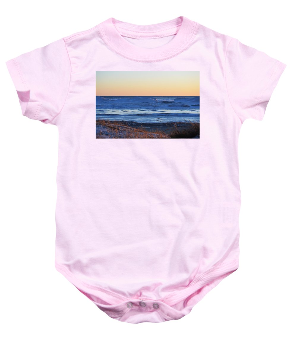 Lake Michigan Baby Onesie featuring the photograph Sunset Over The Ice by Linda Kerkau