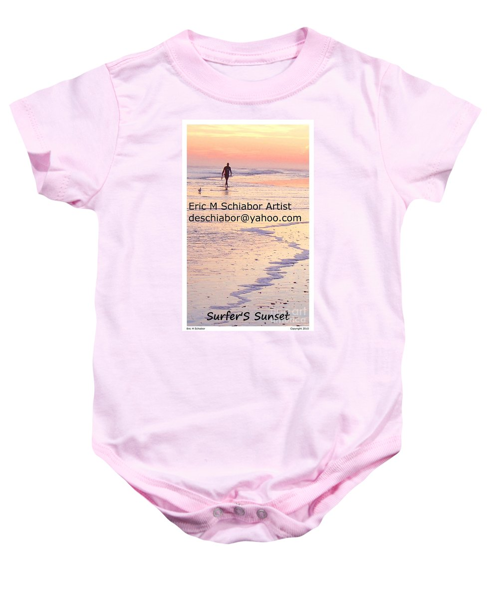 Surfers Baby Onesie featuring the photograph Surfers Sunset by Eric Schiabor