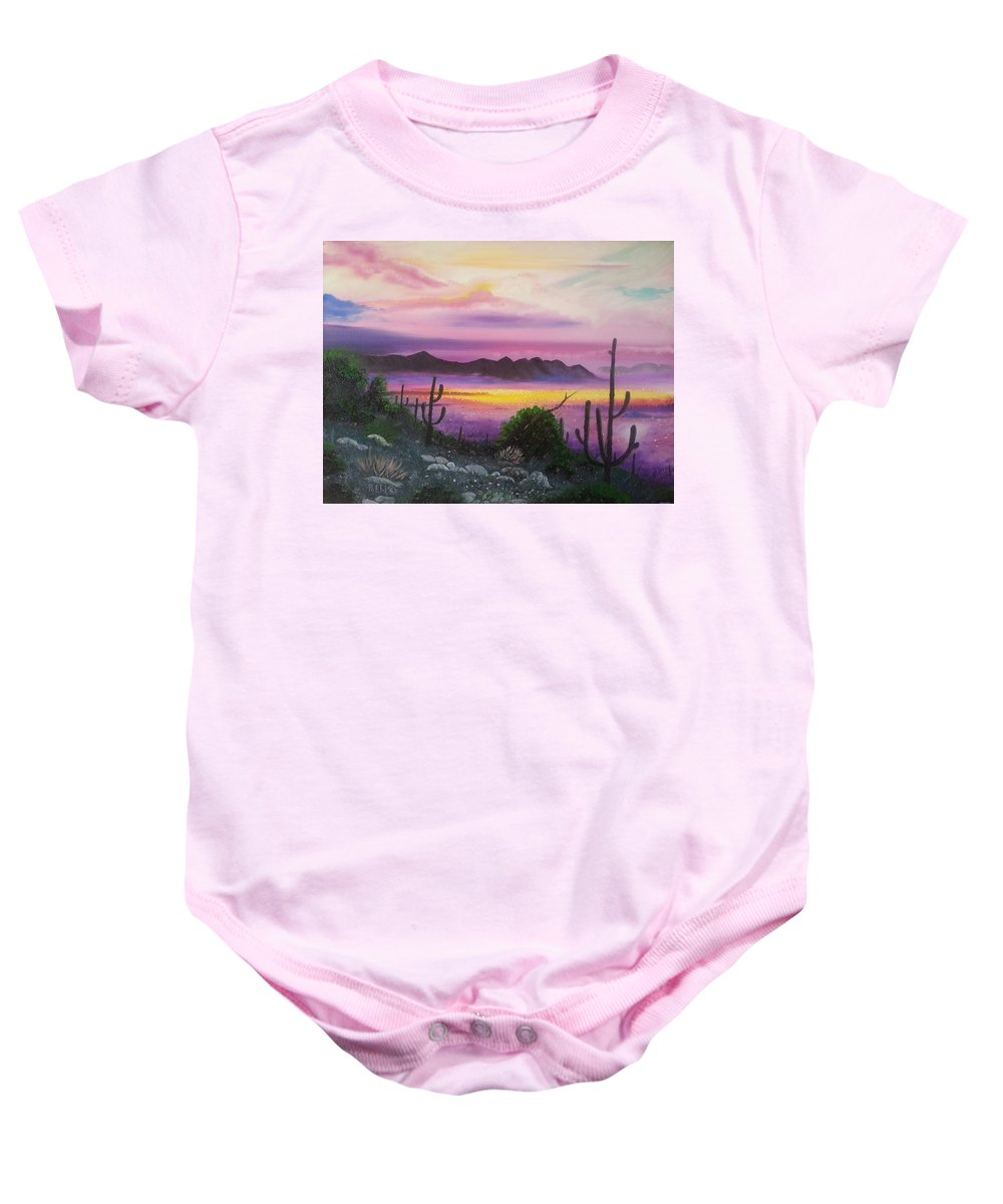 Mountains Baby Onesie featuring the painting Surreal Desert II by Jody Poehl