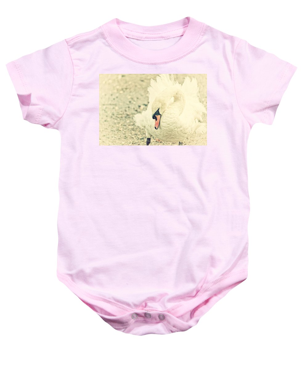 Swan Baby Onesie featuring the photograph Swanny by Karol Livote