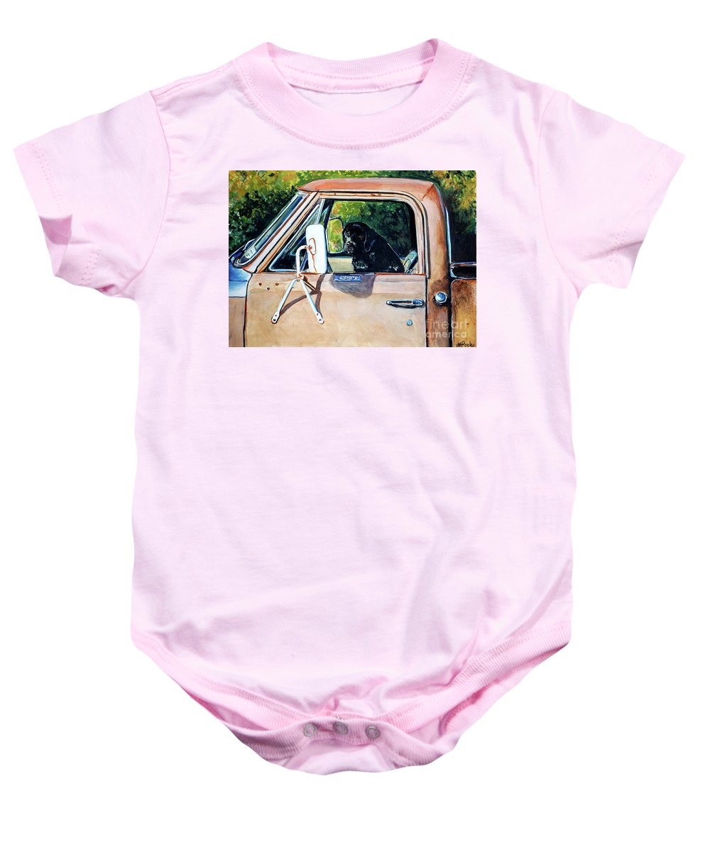 Black Labrador Retriever Baby Onesie featuring the painting Take Me With You by Molly Poole