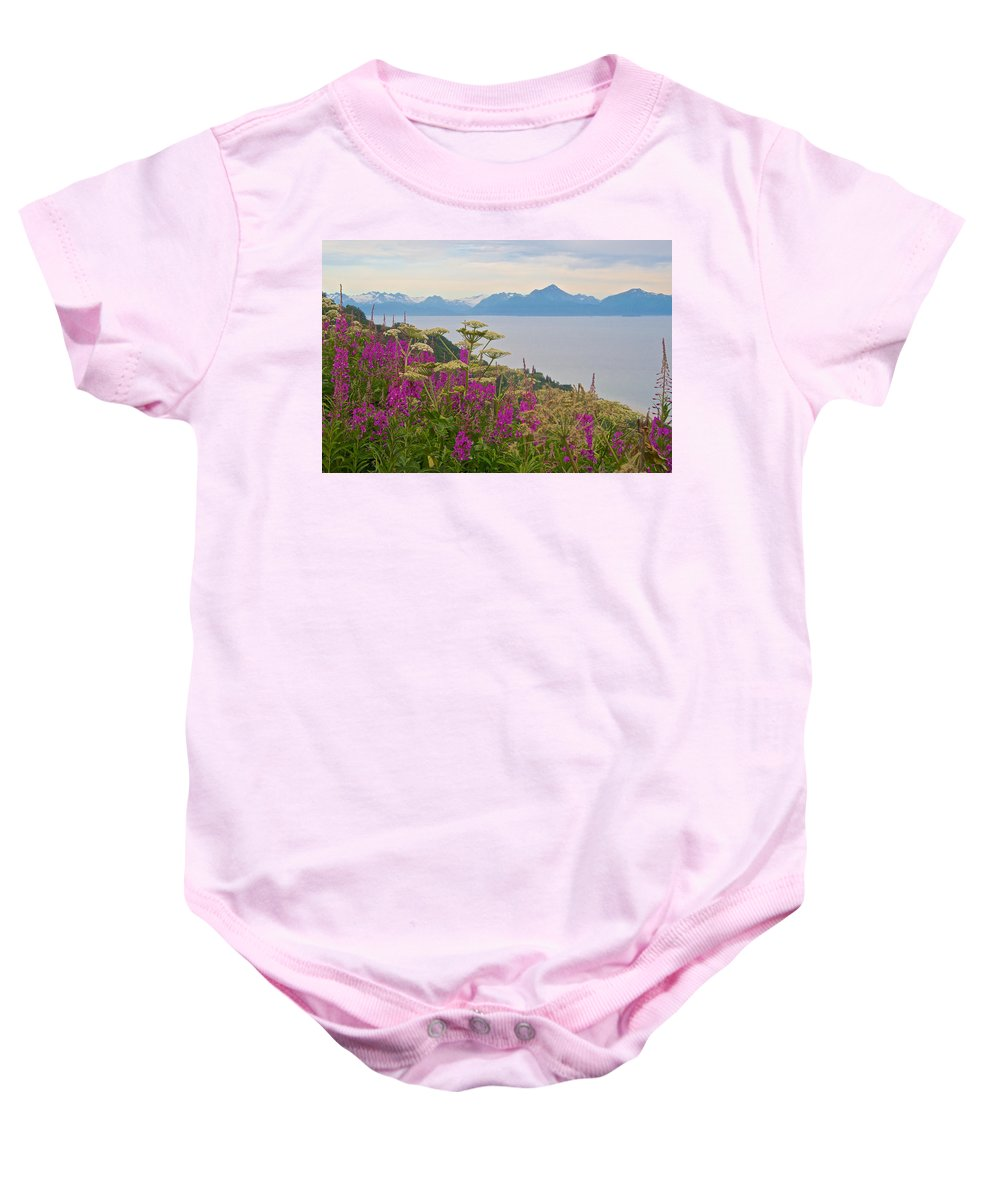 Tall Fireweed And Cow Parsnip Over Cook Inlet Baby Onesie featuring the photograph Tall Fireweed And Cow Parsnip Over Cook Inlet Near Homer- Ak by Ruth Hager