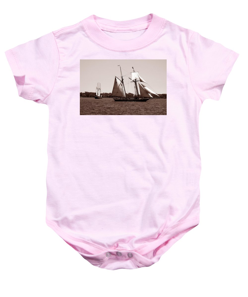 Tallship Baby Onesie featuring the photograph Tall Ships 3 by Andrew Fare