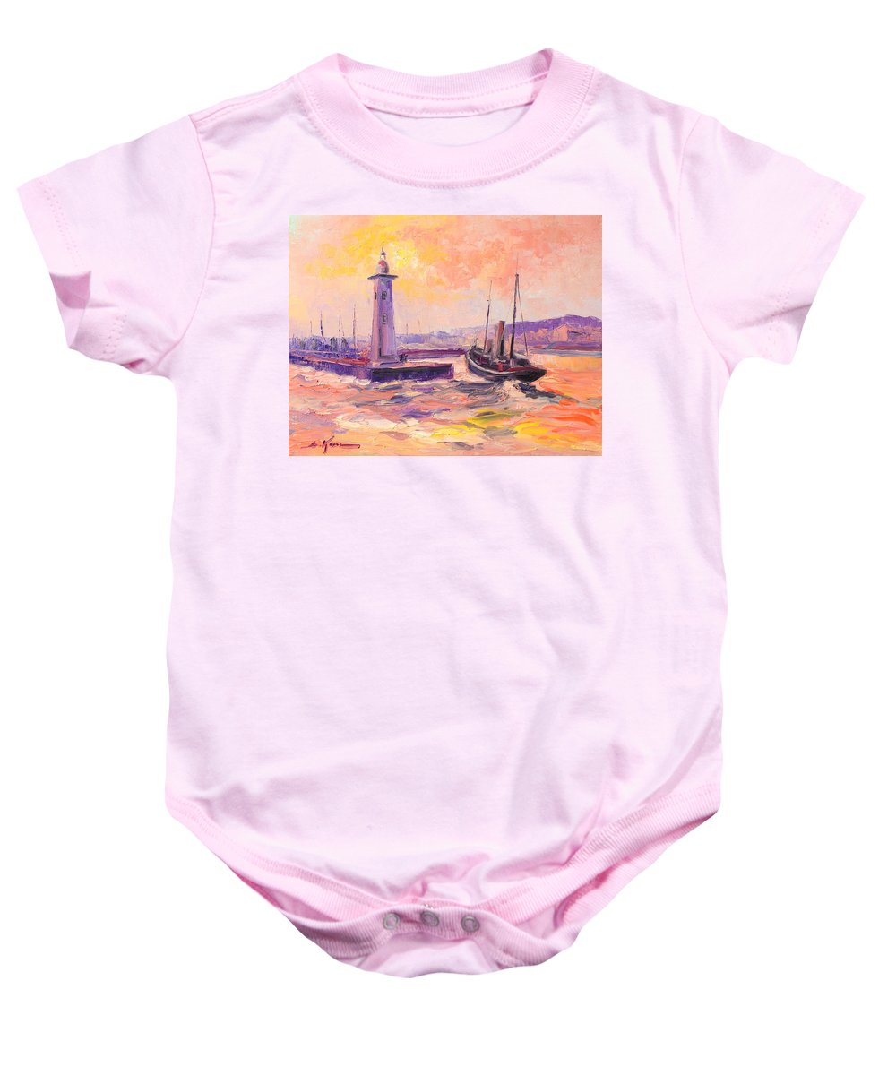 Anstruther Baby Onesie featuring the painting The Anstruther Harbour by Luke Karcz
