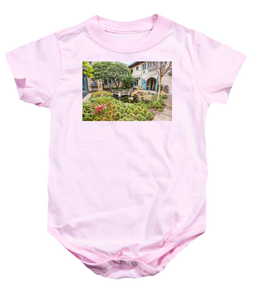 Usc Pacific Asia Museum Baby Onesie featuring the photograph The Beautiful Courtyard Of The Pacific Asia Museum In Pasadena. by Jamie Pham