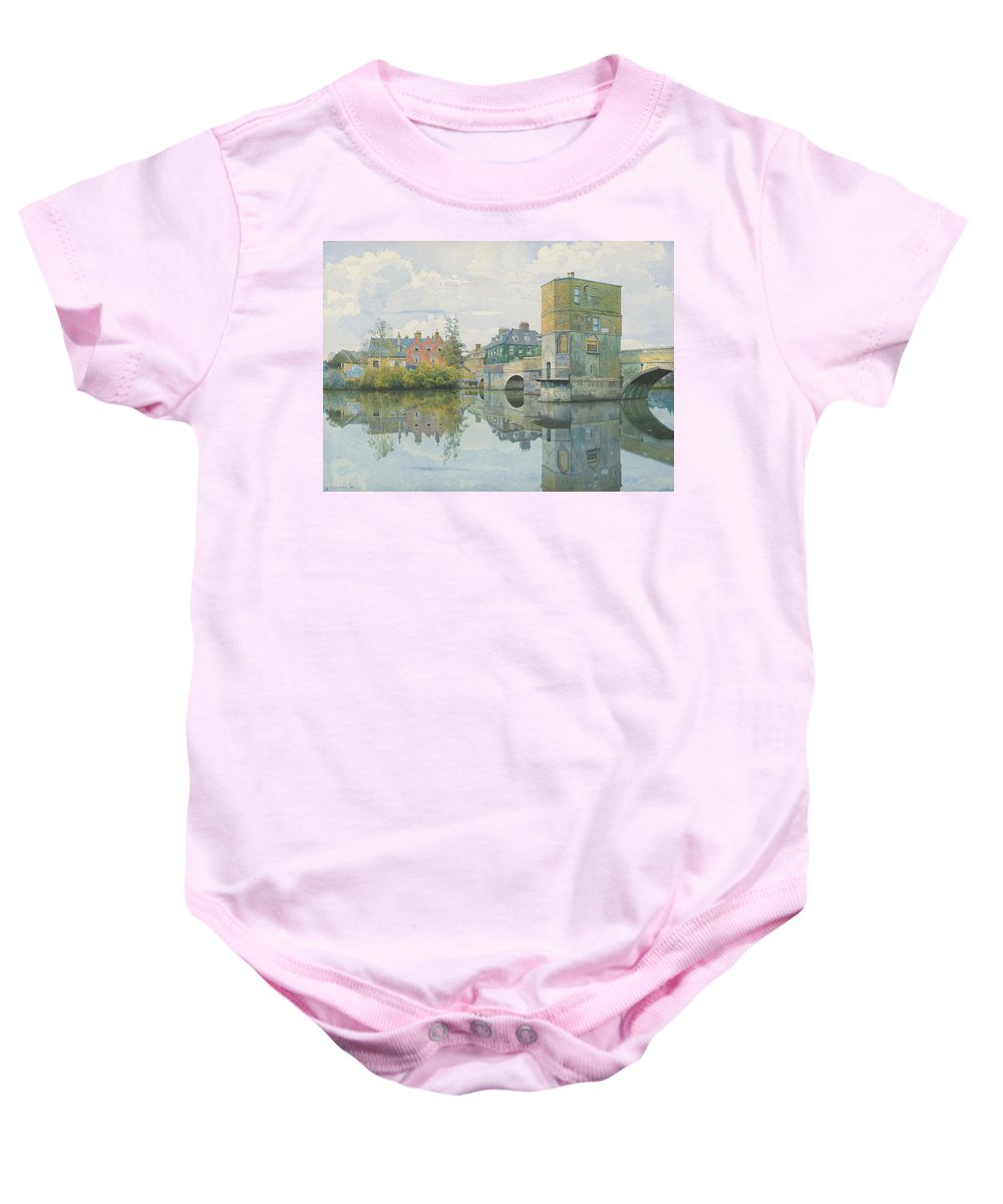 Bridge Baby Onesie featuring the painting The Bridge At Saint Ives by William Fraser Garden