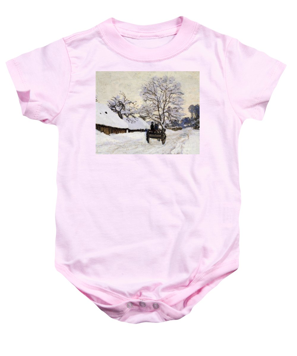 Art Baby Onesie featuring the painting The Carriage- The Road To Honfleur Under Snow by Claude Monet