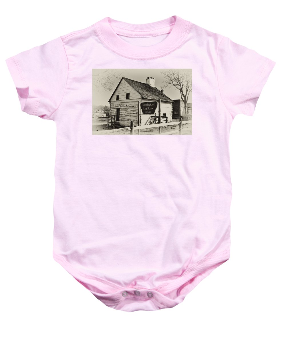 Downingtown Baby Onesie featuring the photograph The Downingtown Log House by Bill Cannon